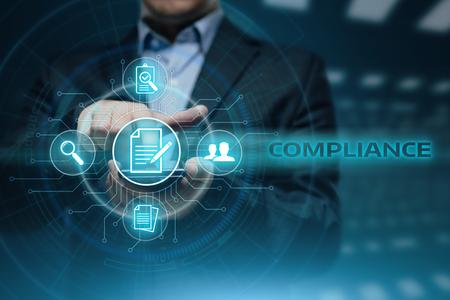 준수 규칙 법 규정 정책 비즈니스 기술 개념.