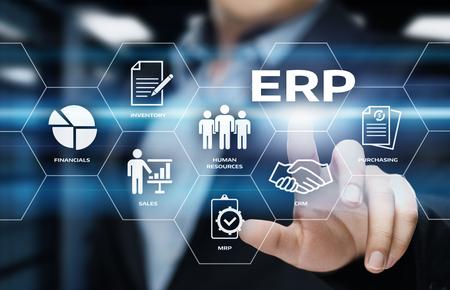 Unternehmens-Ressourcenplanung ERP-Unternehmensunternehmens-Management-Geschäfts-Internet-Technologie-Konzept.
