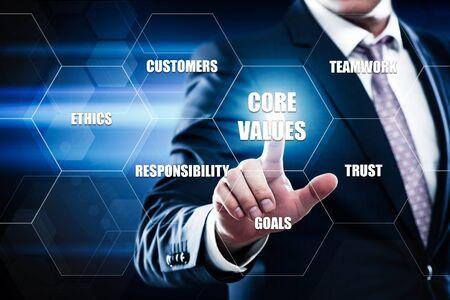 Core Values Responsibility Ethics Goals Company concept.