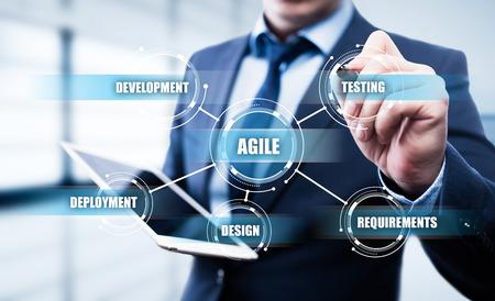 민첩한 소프트웨어 개발 사업 인터넷 기술 개념.