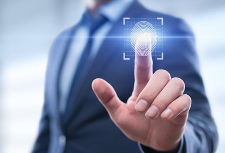 A verificação de impressão digital oferece acesso de segurança com identificação biométrica. Conceito de Rede de Internet de Tecnologia de Negócios Tecnologia