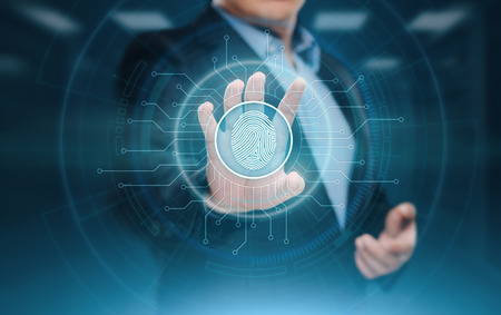 Fingerprint scan provides security access with biometrics identification. Business Technology Safety Internet Concept. Stock Photo