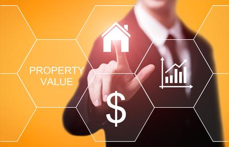 プロパティ値の不動産市場インターネット ビジネス技術コンセプト。 写真素材