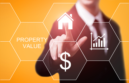 Property Value Real Estate Market Internet Business Technology Concept. Archivio Fotografico