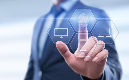 La exploración de huellas dactilares proporciona acceso de seguridad con identificación biométrica. Concepto de red de Internet de seguridad de tecnología empresarial