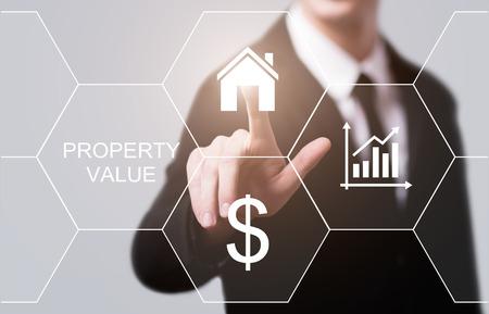 부동산 가치 부동산 시장 인터넷 비즈니스 기술 개념입니다. 스톡 콘텐츠