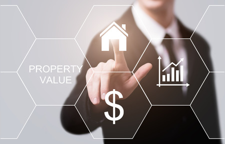 Property Value Real Estate Market Internet Business Technology Concept. Archivio Fotografico