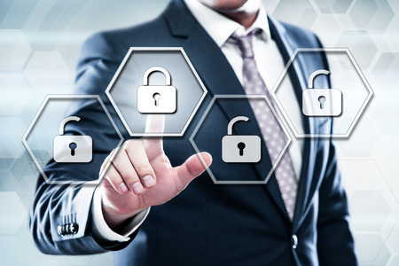 Cyber Security Lock on Digital Screen Data Protection Business Technology Privacy concept.