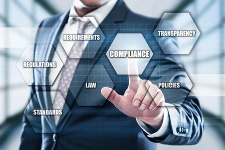 コンプライアンス ルール法律規制ポリシー ビジネス テクノロジの概念。
