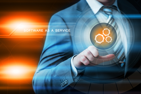remote server: Software as a Service Network Internet Business Technology Concept. Stock Photo