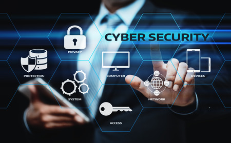 Cyber ? ? Security Data Business Business Technology Privatsphäre Konzept