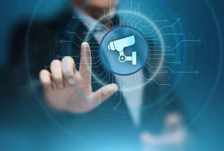 Überwachungskamera-Sicherheitssystem-Geschäfts-Technologie-Sicherheits-Konzept.