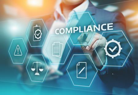 Conformité règles conformité technologie politique concept de technologie commerciale Banque d'images - 88284437