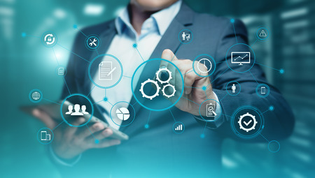 자동화 소프트웨어 기술 프로세스 시스템 비즈니스 개념입니다.