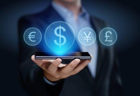 통화 기호 달러 유로 엔 파운드 비즈니스 인터넷 기술 금융 개념입니다.
