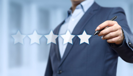 5 Five Stars Rating Quality Review Best Service Business Internet Marketing Concept. Archivio Fotografico - 93562851