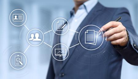 Concetto di tecnologia di Internet di affari del sistema di dati della gestione dei documenti.