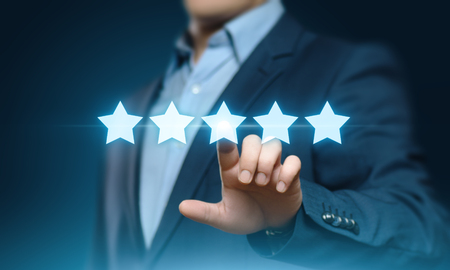 5 Five Stars Rating Quality Review Best Service Business Internet Marketing Concept.
