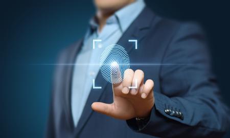 Fingerprint scan provides security access with biometrics identification. Business Technology Safety Internet Concept. Standard-Bild