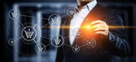 e-commerce add to cart online shopping business technology internet concept. Standard-Bild