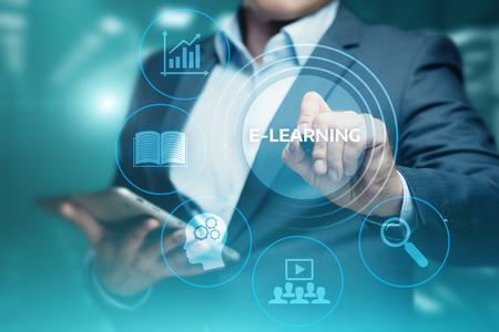 E-learning Onderwijs Internet Technologie Webinar Online cursussen concept.
