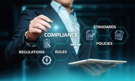 Zgodność Zasady Polityka regulacji prawa Koncepcja technologii biznesowej. Zdjęcie Seryjne