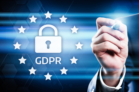 GDPR 일반 데이터 보호 규정 비즈니스 인터넷 기술 개념.