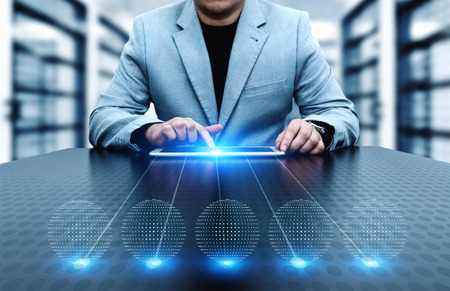 Businessman pressing button. Innovation technology internet business concept. Space for text. Standard-Bild