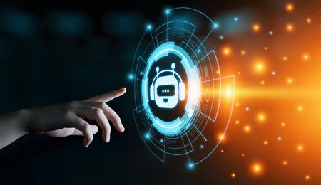 Chat bot Robot en línea charlando comunicación negocio concepto de tecnología de Internet