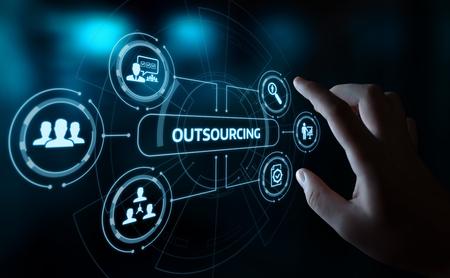 Outsourcing van menselijke hulpbronnen bedrijfsconcept internettechnologie.
