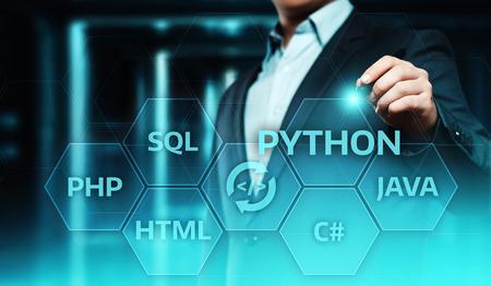 Python Programming Language Web Development Coding Concept.