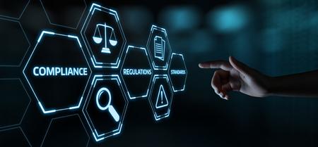 Concept de technologie commerciale de la politique de réglementation des règles de conformité.