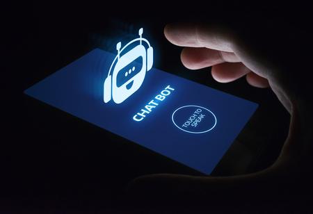 Chat bot Robot en ligne Chat Communication Business Internet Technology Concept.