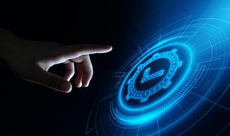 Standardowe zapewnienie kontroli jakości Gwarancja gwarancji Internet Business Technology Concept.