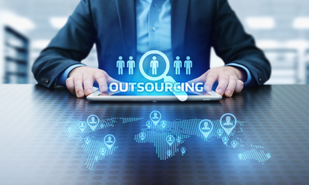 Externalisation des ressources humaines Business Concept de technologie Internet.