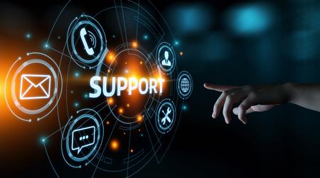 Centro de soporte técnico Servicio al cliente Concepto de tecnología empresarial de Internet. Foto de archivo