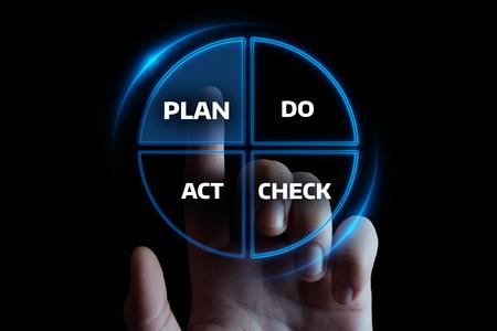PDCA Plan Do Check Act Business Action Strategy Goal Success concept. Stock Photo