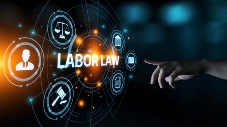 Concepto de tecnología de Internet de negocios legales de abogado de derecho laboral. Foto de archivo
