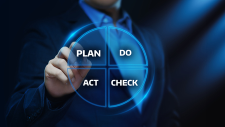 PDCA Plan Do Check Act Business Action Strategy Goal Success concept.