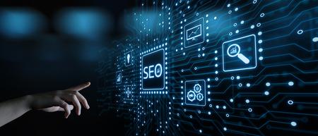 SEO Search Engine Optimization Marketing Ranking Traffic Website Internet Business Technology Concept. 免版税图像
