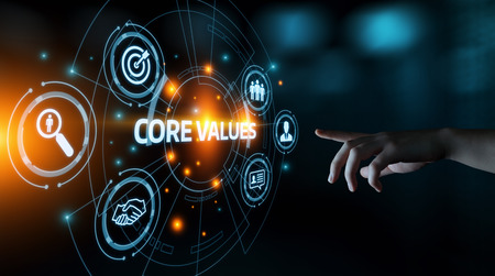 Core Values Responsibility Ethics Goals Company concept.