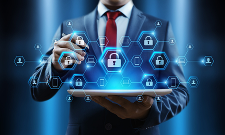 Cyber Security Data Protection Business Technology Privacy concept. Foto de archivo