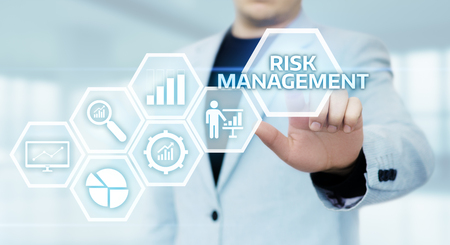 Risk Management Strategy Plan Finance Investment Internet Business Technology Concept. Stock Photo