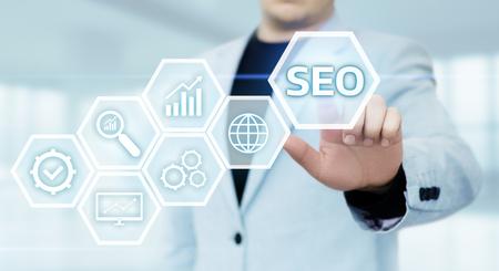 SEO Search Engine Optimization Marketing Ranking Traffic Website Internet Business Technology Concept. Stock Photo