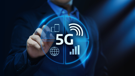 5G Network Internet Mobile Wireless Business concept. Stock Photo