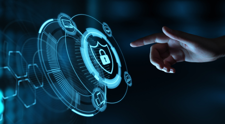 Protección de datos Cyber Security Privacy Business Internet Technology Concept. Foto de archivo