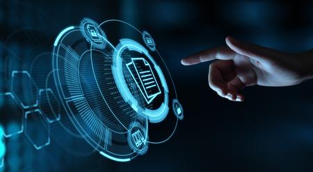 Concepto de la tecnología de Internet del negocio del sistema de datos de gestión de documentos. Foto de archivo