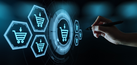e-commerce add to cart online shopping business technology internet concept. Banque d'images