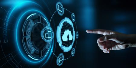 Concepto de red de almacenamiento de Internet de tecnología de computación en la nube.