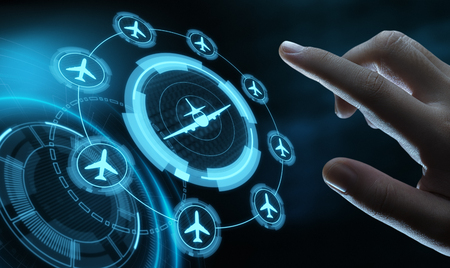 Business Technology Travel Transportation concept with planes. Stock Photo